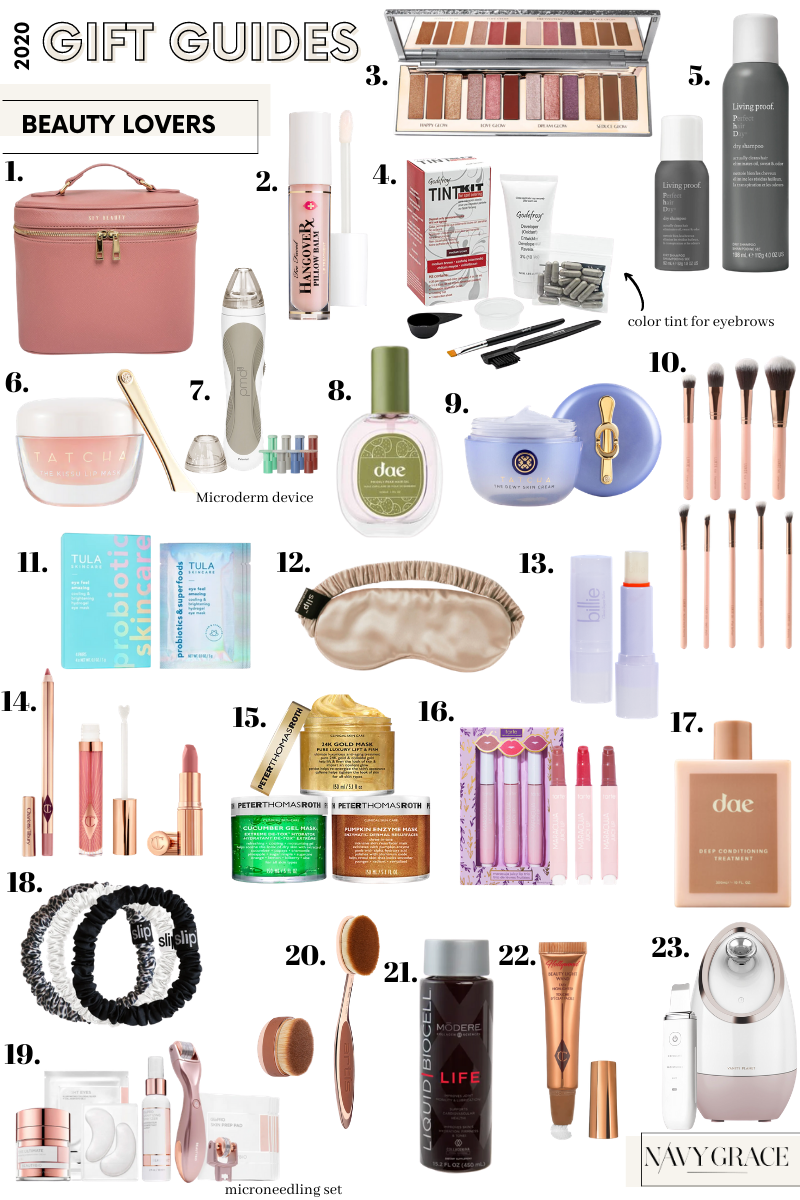 beauty gift guide |Beauty Gifts for Her by popular San Diego beauty blog, Navy Grace: collage image of a slip silk mask, tarte makeup, makeup brushes, living proof hair product, face steamer, pmd microdermabrasion, dae hair product, tatcha dewy skin cream, Tula probiotic skincare, Tula eyemask, billie hydrating lip balm, silk hair ties, peter thomas roth face mask, and Biocell liquid collagen.