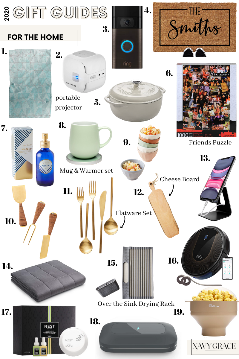 Holiday Gift Guide for the Home   Gifts for the Home by popular San Diego life and style blog, Navy Grace: image of geometry towels, portable projector, ring doorbell, roomba vacuum, weighted blanket, personalized welcome door mat, dutch oven, friends collage puzzle, Valcano capri blue room spray, mug and warmer set, anthropologie mini latte bowls, cheese knives, gold flatware set, cheese board, cell phone stand, over the sink drying rack, pura fragrance diffuser set, and microwave popcorn popper.