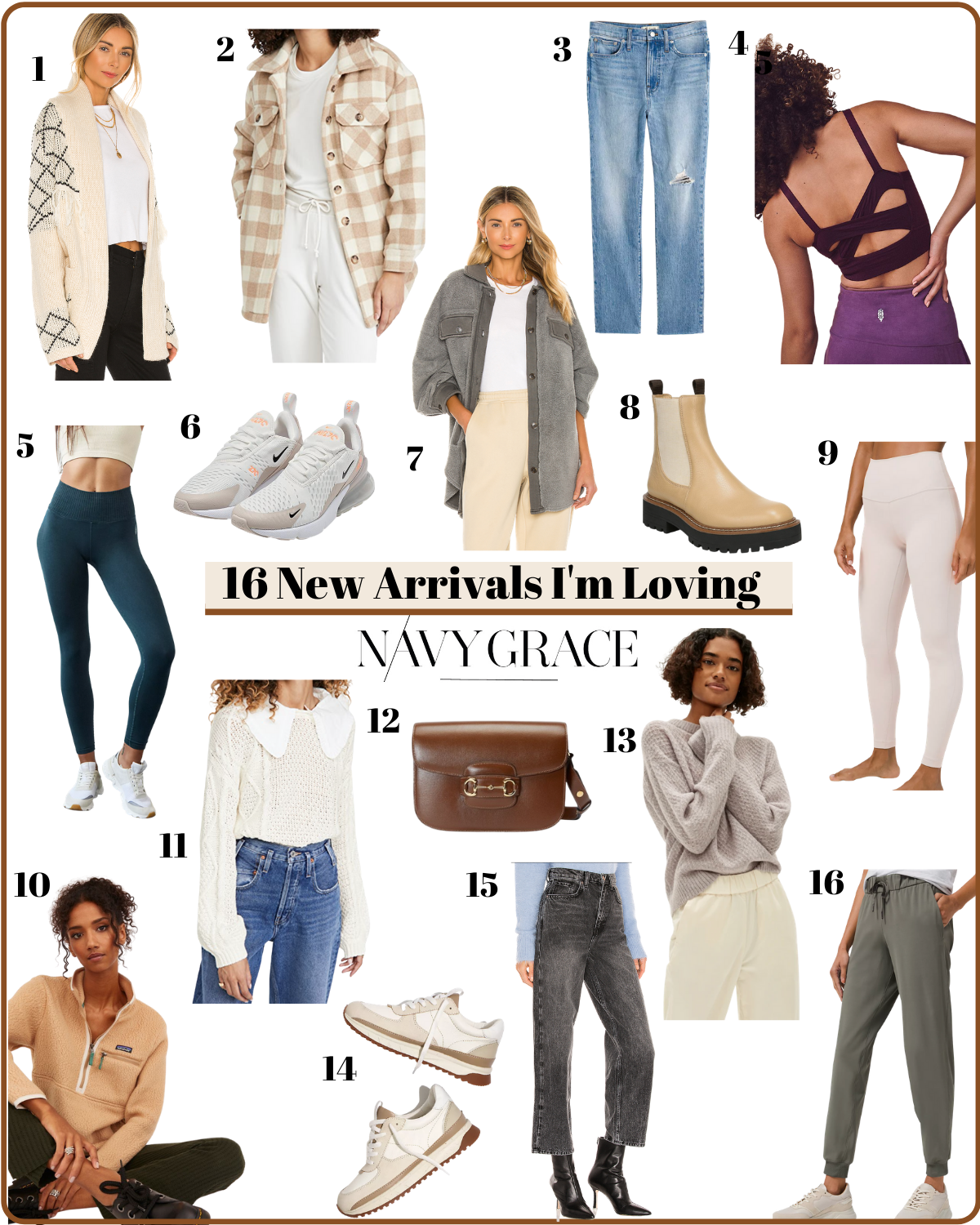 winter new arrivals im loving |New Arrivals by popular San Diego fashion blog, Navy Grace: collage image of jeans, boots, sneakers, joggers, shackets, purse, and athletic clothing.