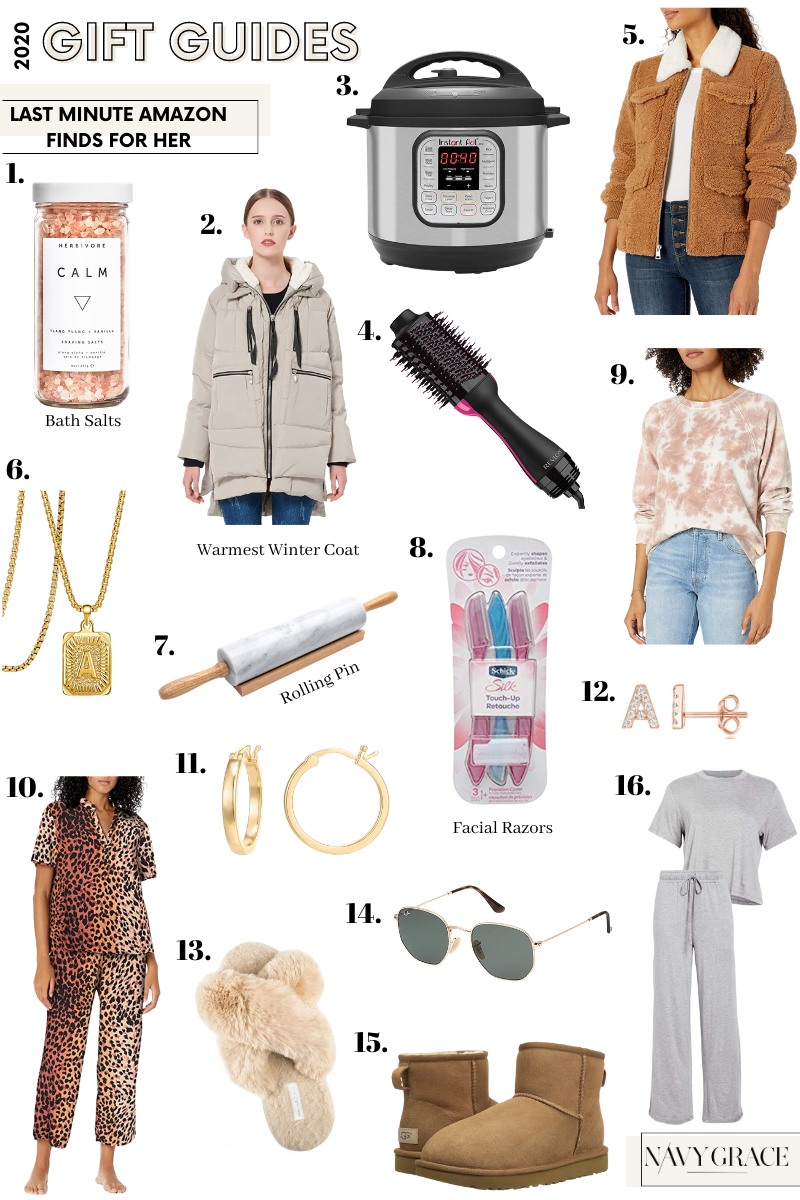 Amazon gift guide for her |Amazon Finds by popular San Diego life and style blog, Navy Grace: collage image of monogram gold necklace, gold hoop earrings, initial post earrings, puffer jacket, bath salts, marble rolling pin, Dyson hair tool, Insta Pot, Shearling corduroy jacket, tie dye sweat shirt, ray-ban sunglasses, UGG boots, slippers, leopard print pajamas, grey loungewear set, and face hair razors.