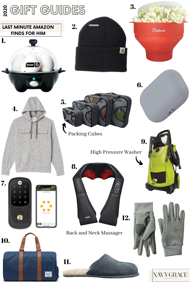Amazon Gift Guide for Him |Amazon Finds by popular San Diego life and style blog, Navy Grace: collage image of Carhart beanie, slippers, Herschel bag, grey hoodie, neck massager, popcorn popper, packing cubes, airpods case, lock touch screen, Under Armor gloves, and a high pressure washer.