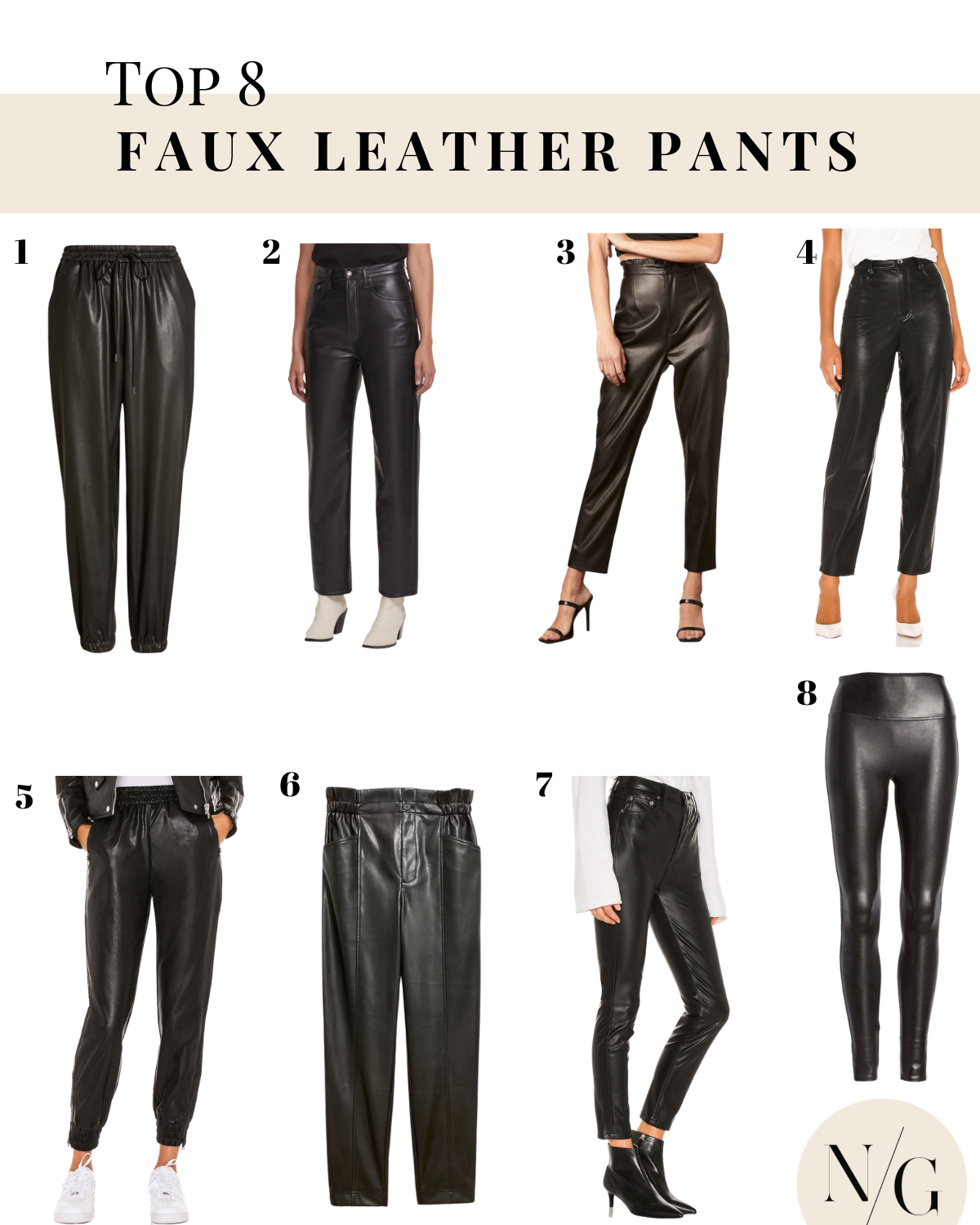 faux leather pants |Faux Leather Pants by popular San Diego fashion blog, Navy Grace: collage image of faux leather pants.