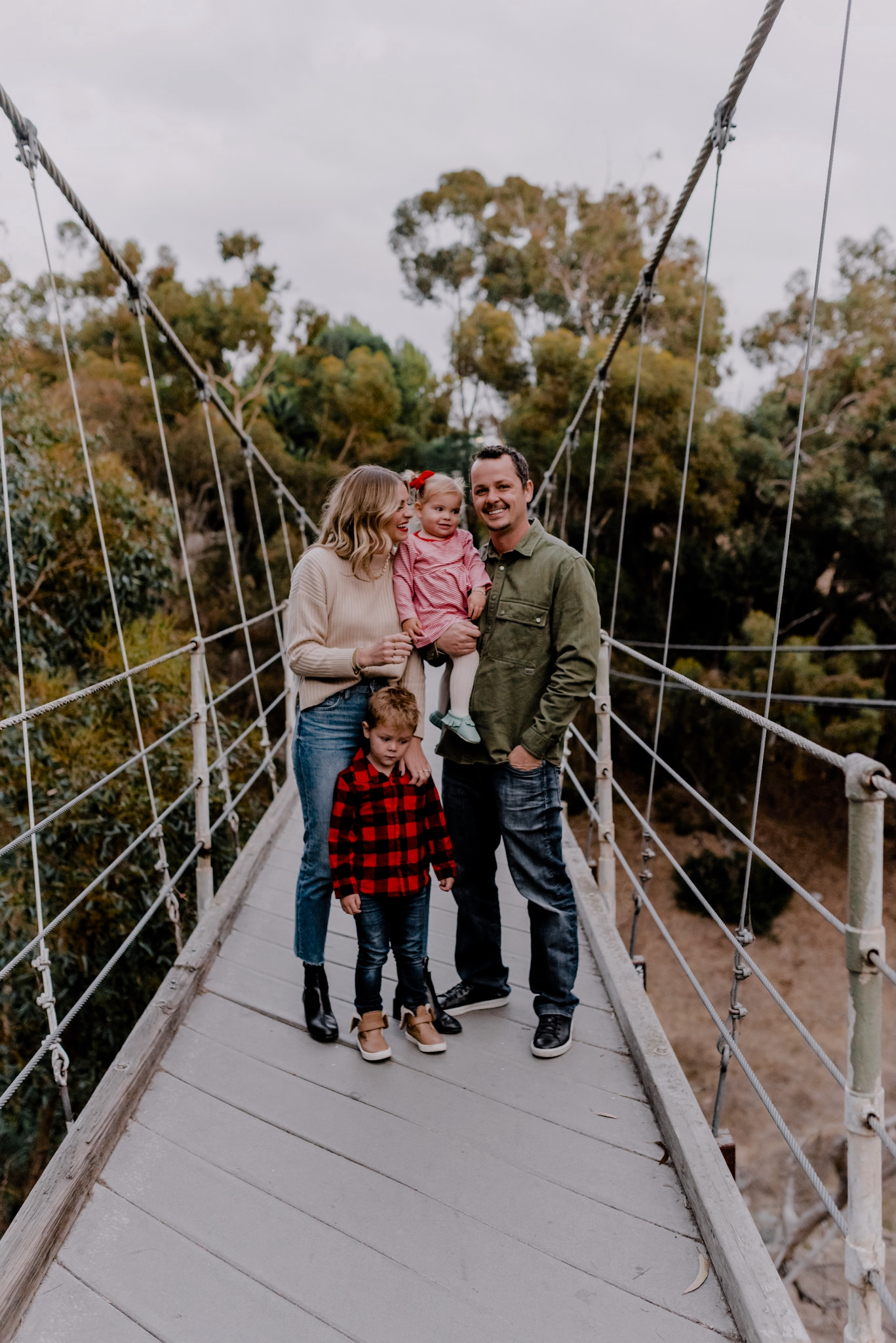 Amazon Finds by popular San Diego life and style blog, Navy Grace: image of a family standing together on a suspension bridge.