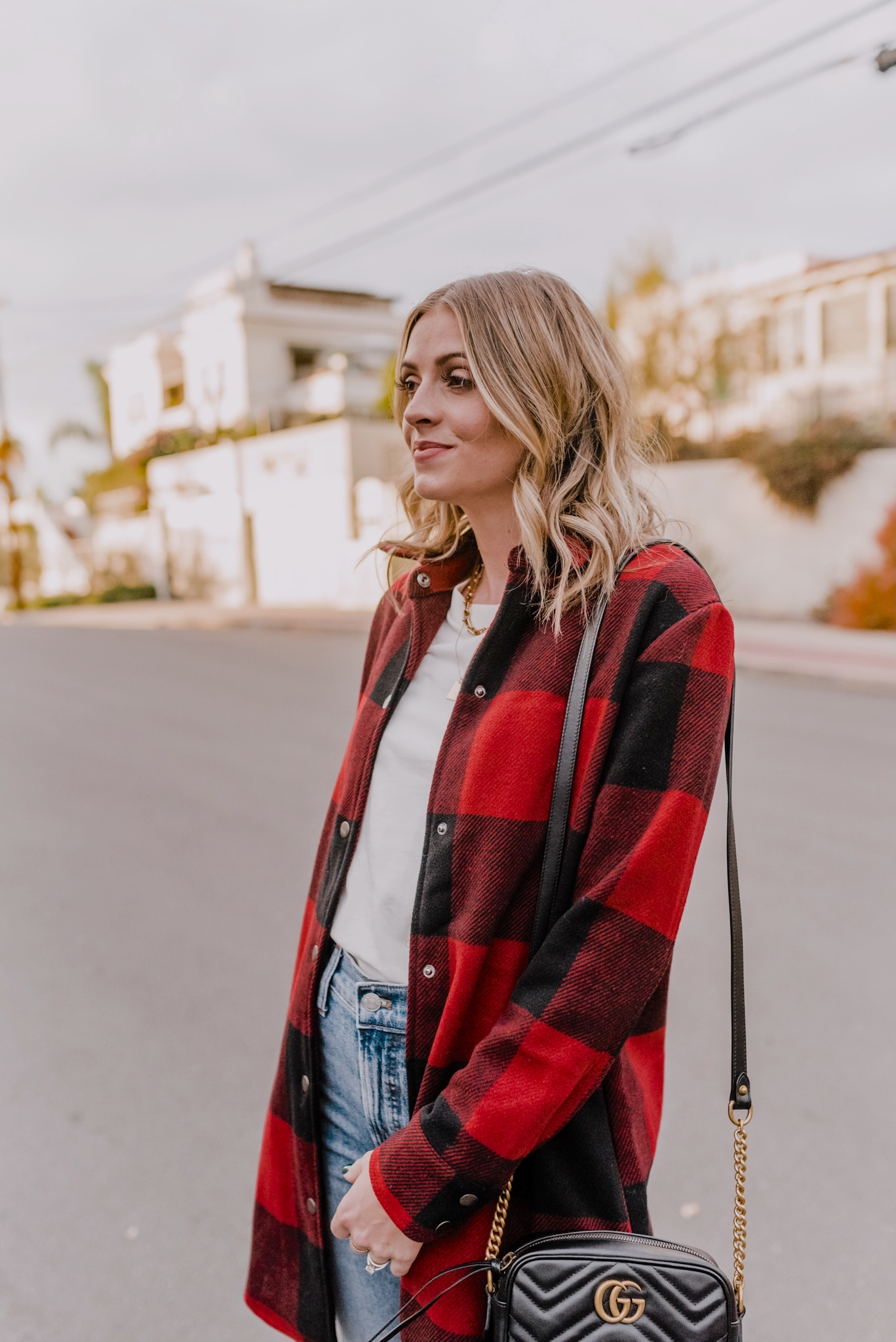 10 coats and jackets |  Winter Jackets by popular San Diego fashion blog, Navy Grace: image of Camilla Thurman wearing a Red Plaid Coat, BB Dakota bb, Madewell Denim, Lug Sole Boots, and carrying a Gucci handbag.
