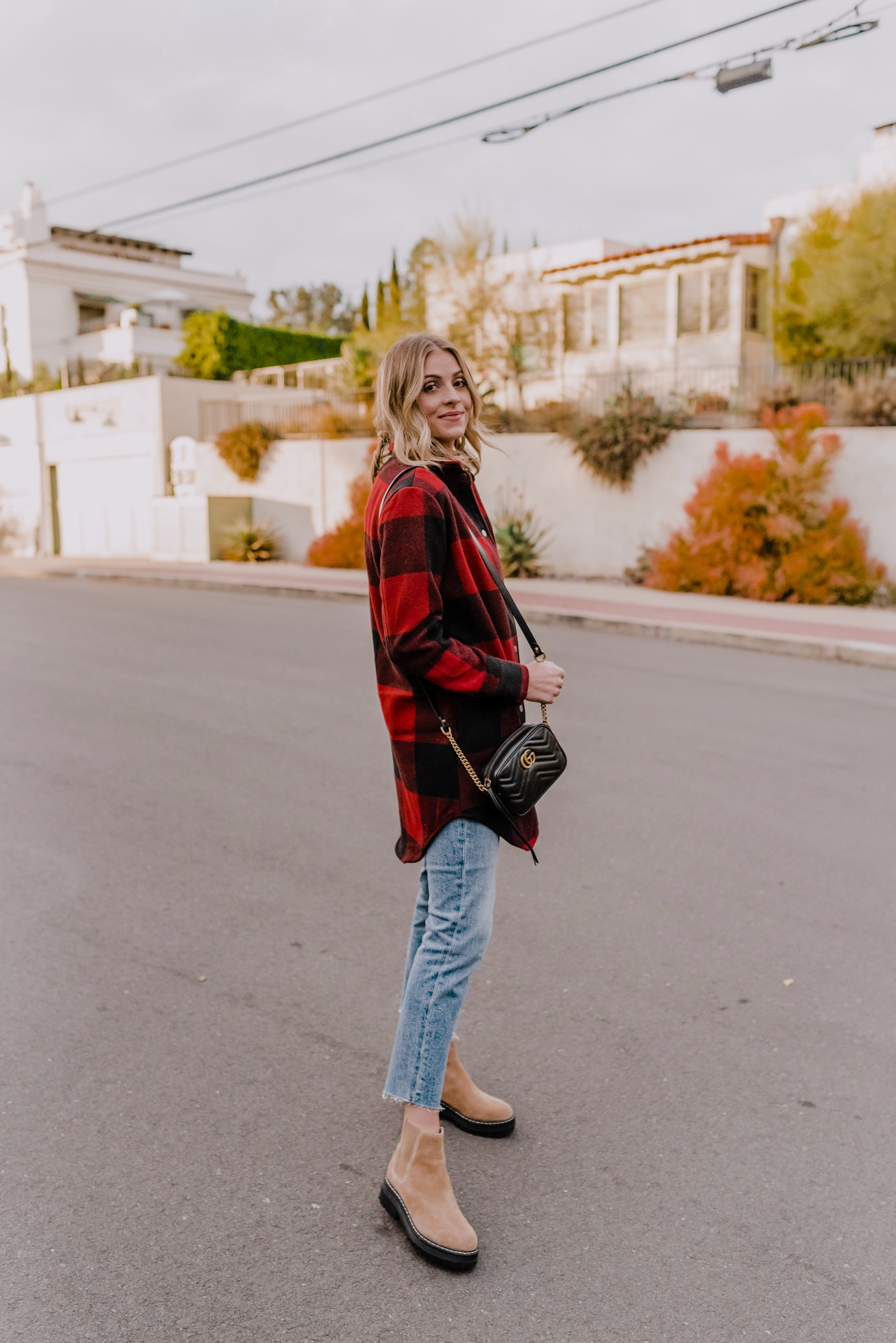 10 coats and jackets    Winter Jackets by popular San Diego fashion blog, Navy Grace: image of Camilla Thurman wearing a Red Plaid Coat, BB Dakota bb, Madewell Denim, Lug Sole Boots, and carrying a Gucci handbag.