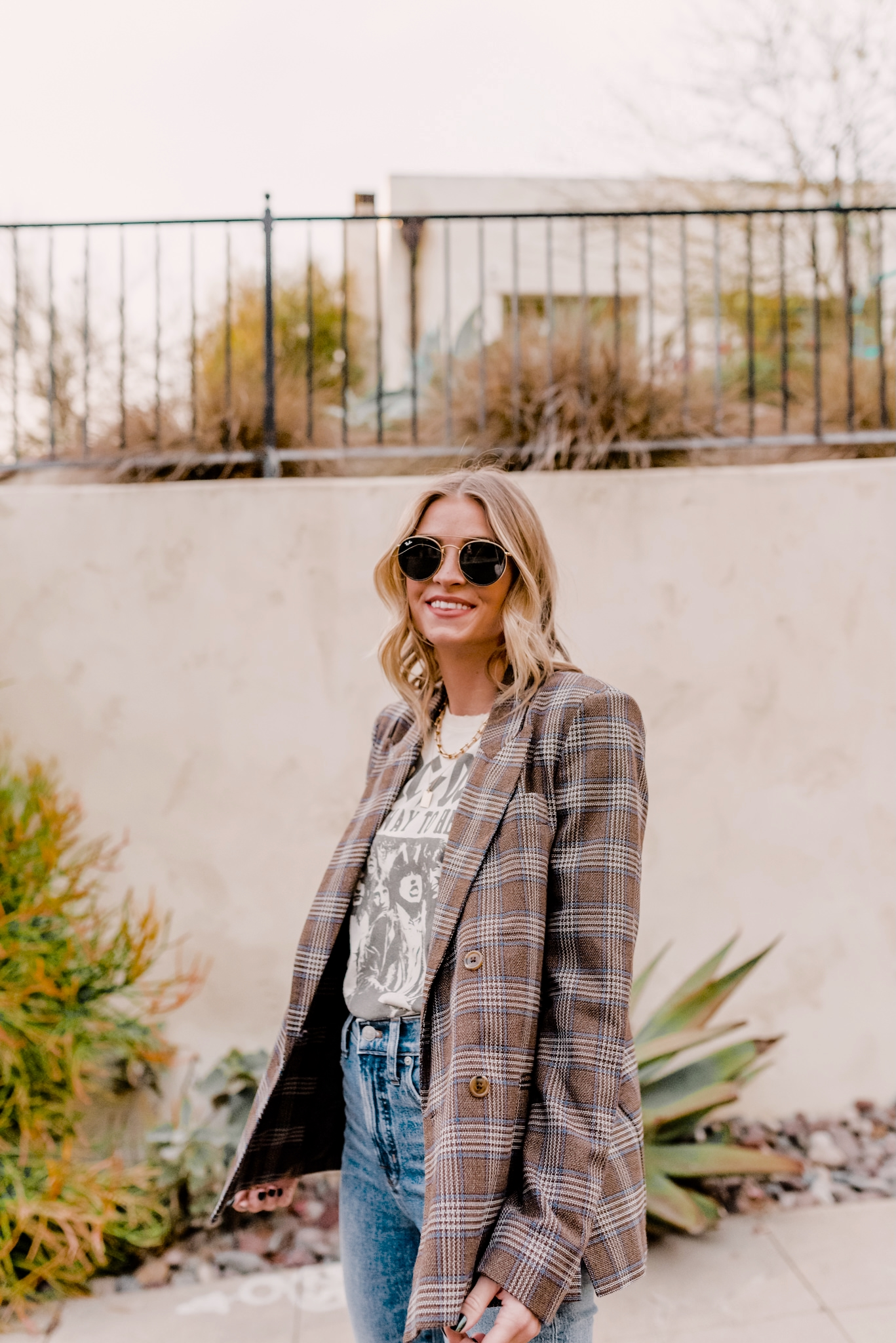 top lug sole boots | Lug Sole Boots by popular San Diego fashion blog, Navy Grace: image of Camilla Thurman wearing a AC/DC Graphic Tee, Similar Blazer Jacket, Marc Fisher Lug Sole Boots, Denim, and Sunglasses.