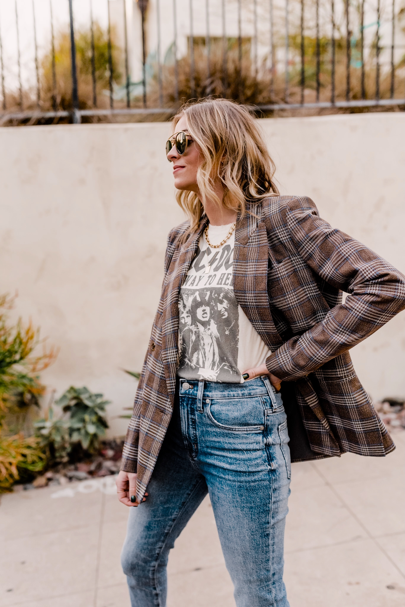top lug sole boots | top lug sole boots | Lug Sole Boots by popular San Diego fashion blog, Navy Grace: image of Camilla Thurman wearing a AC/DC Graphic Tee, Similar Blazer Jacket, Marc Fisher Lug Sole Boots, Denim, and Sunglasses.
