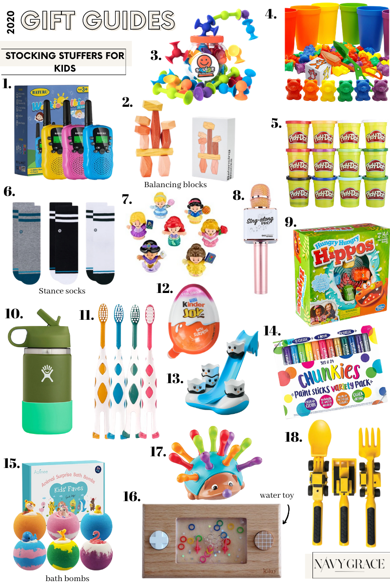 stocking stuffers for kids |Stocking Stuffers by popular San Diego life and style blog, Navy Grace: collage image of Walkie Talkies, Play Doh, Hydroflask water bottle, Little People Disney princesses, Balancing blocks, Hungry Hungry Hippos, Digger utensils, Stance socks, Kinder Egg, Chunkies paint sticks, Giraffe toothbrushes, Karaoke microphone, bath bombs, water toy, spiky sensory toy, counting bears matching cups, and Spike the Fine Sensory Hedgehog.