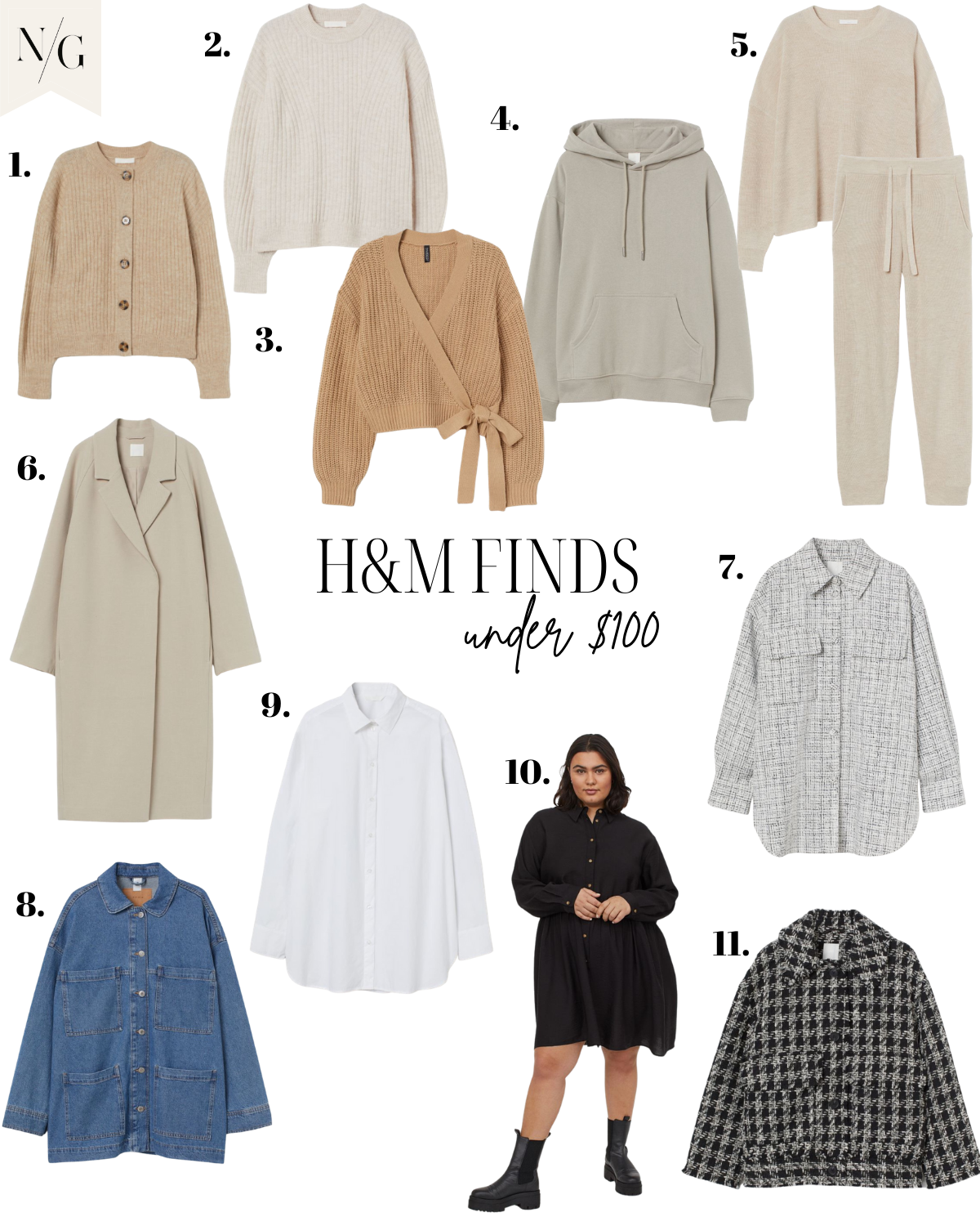 HM FINDS UNDER $100 |H&M Finds by popular San Diego fashion blog, Navy Grace: collage image of H&M tan sweaters, denim jacket, tan sweater set, grey hoodie, tan trench coat, black and white houndstooth jacket, black shirt dress, and white button up top.