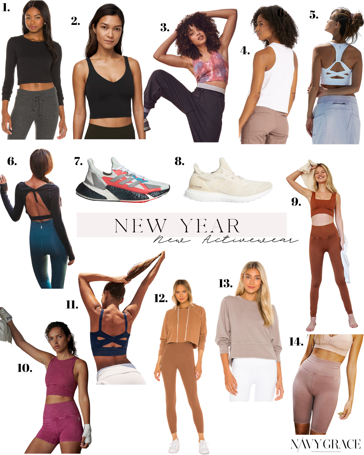 new activewear |New Activewear by popular San Diego fashion blog, Navy Grace: collage image of running shoes, athletic crop tops, and athletic leggings.
