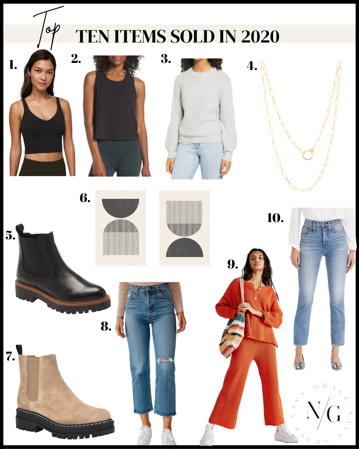 top 10 items of 2020 |Top Items by popular San Diego fashion blog, Navy Grace: collage image of a black crop top tank, black tank, grey sweater, gold necklace, black waterproof boots, modern black and white prints, tan suede boots, red sweater set, and cropped denim.