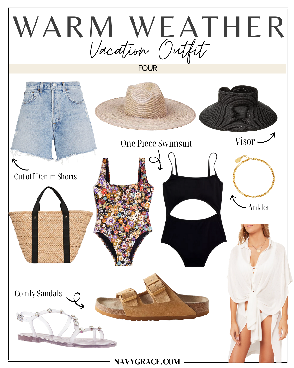 vacation outfit four beach essentials