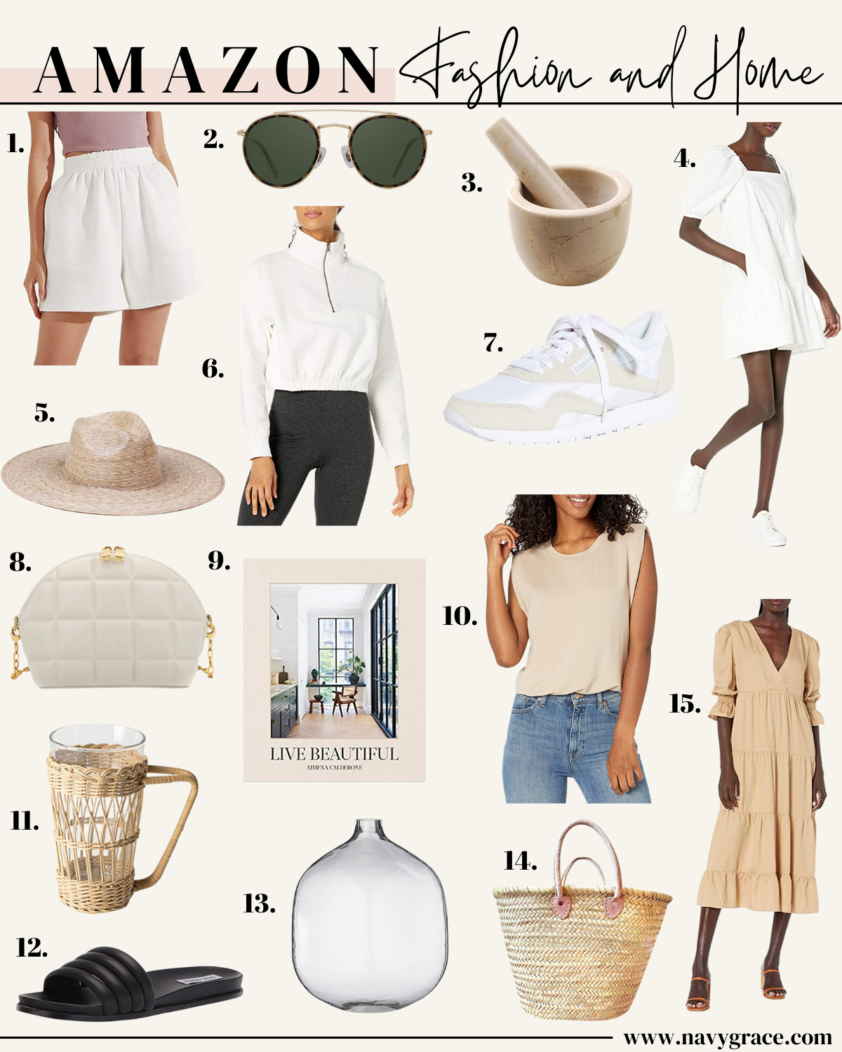 collage of images of AMAZON HOME AND FASHION APRIL items
