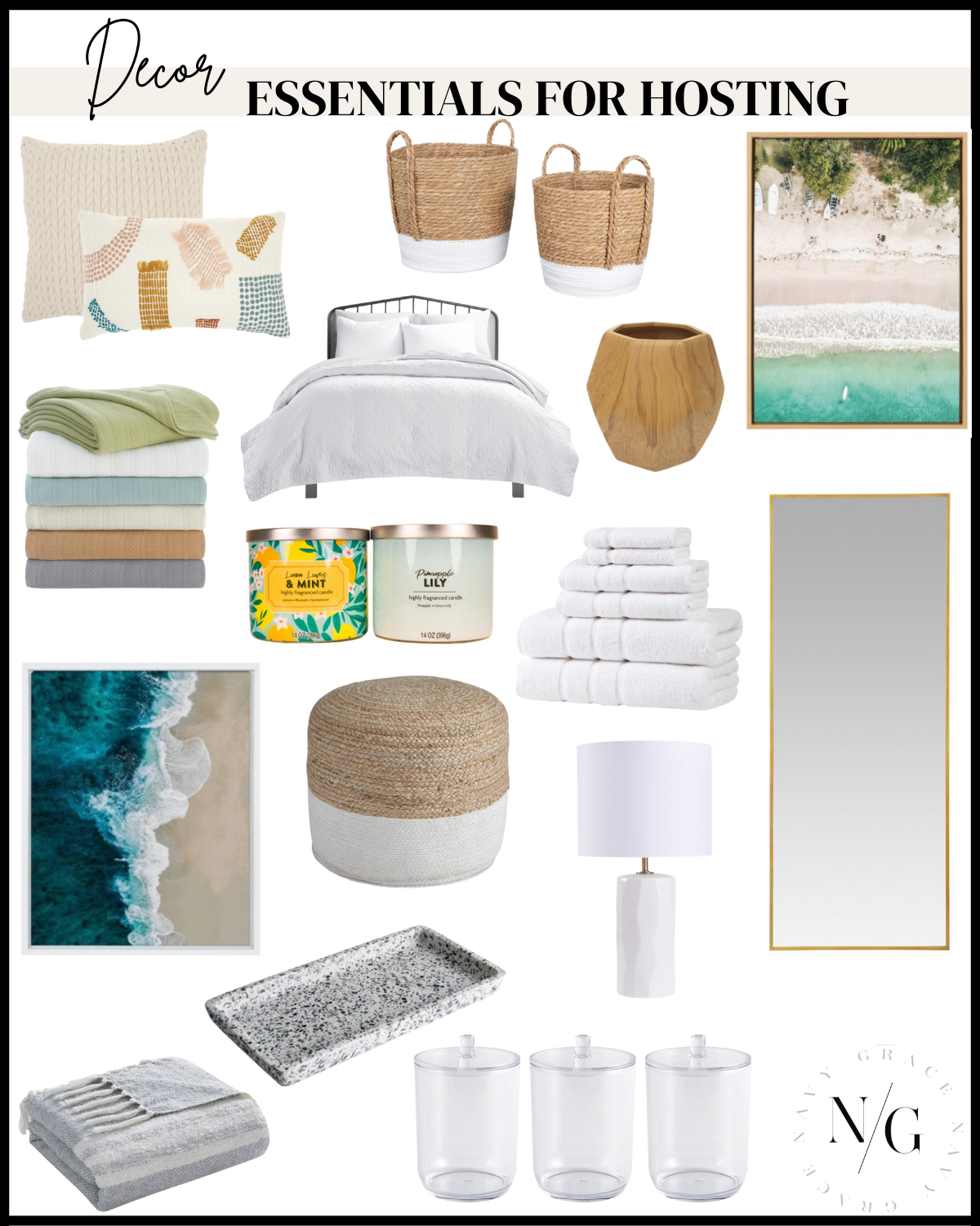 a collage of Decor Essentials for Hosting Guests