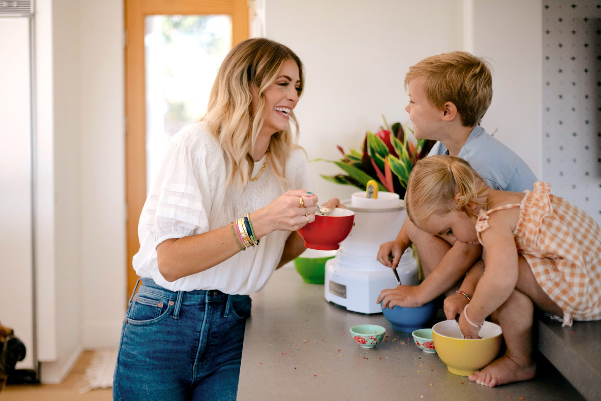 woman and children eating ice cream