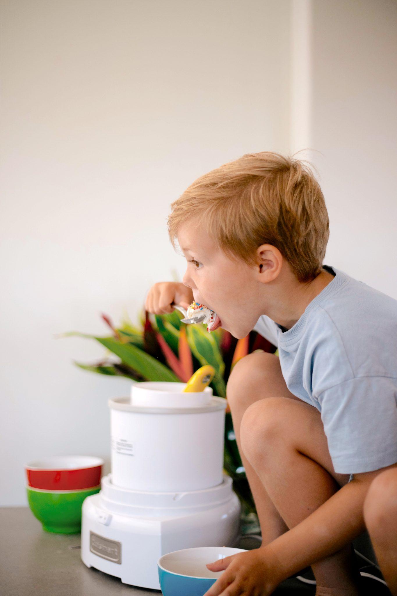 boy eating ice cream from Summer Kitchen Essentials