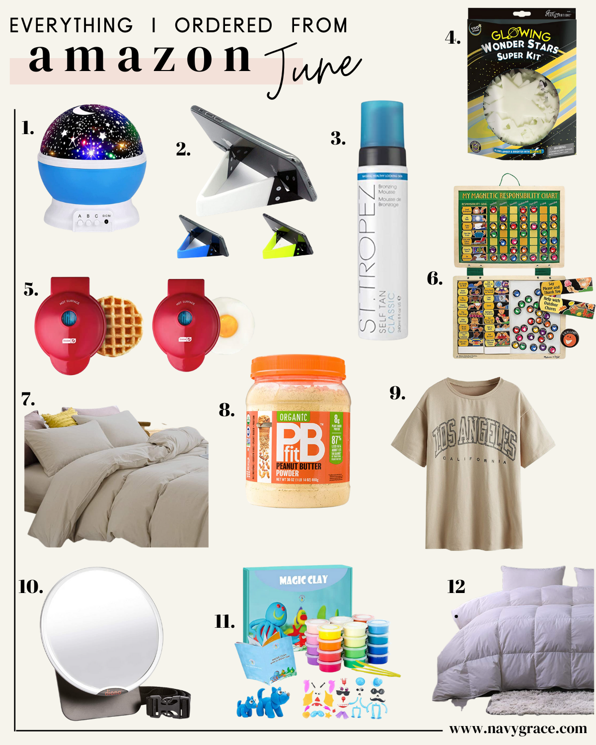 a collage of items I order in amazon in June