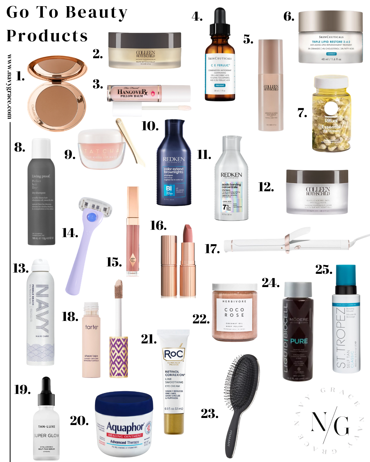 a collage of best go to beauty products