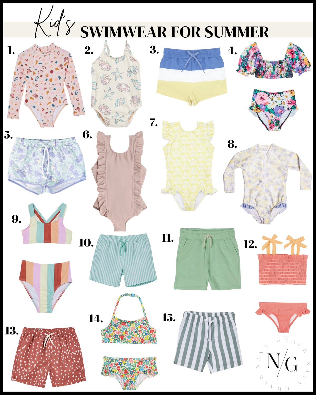 collage of swimwear for kids