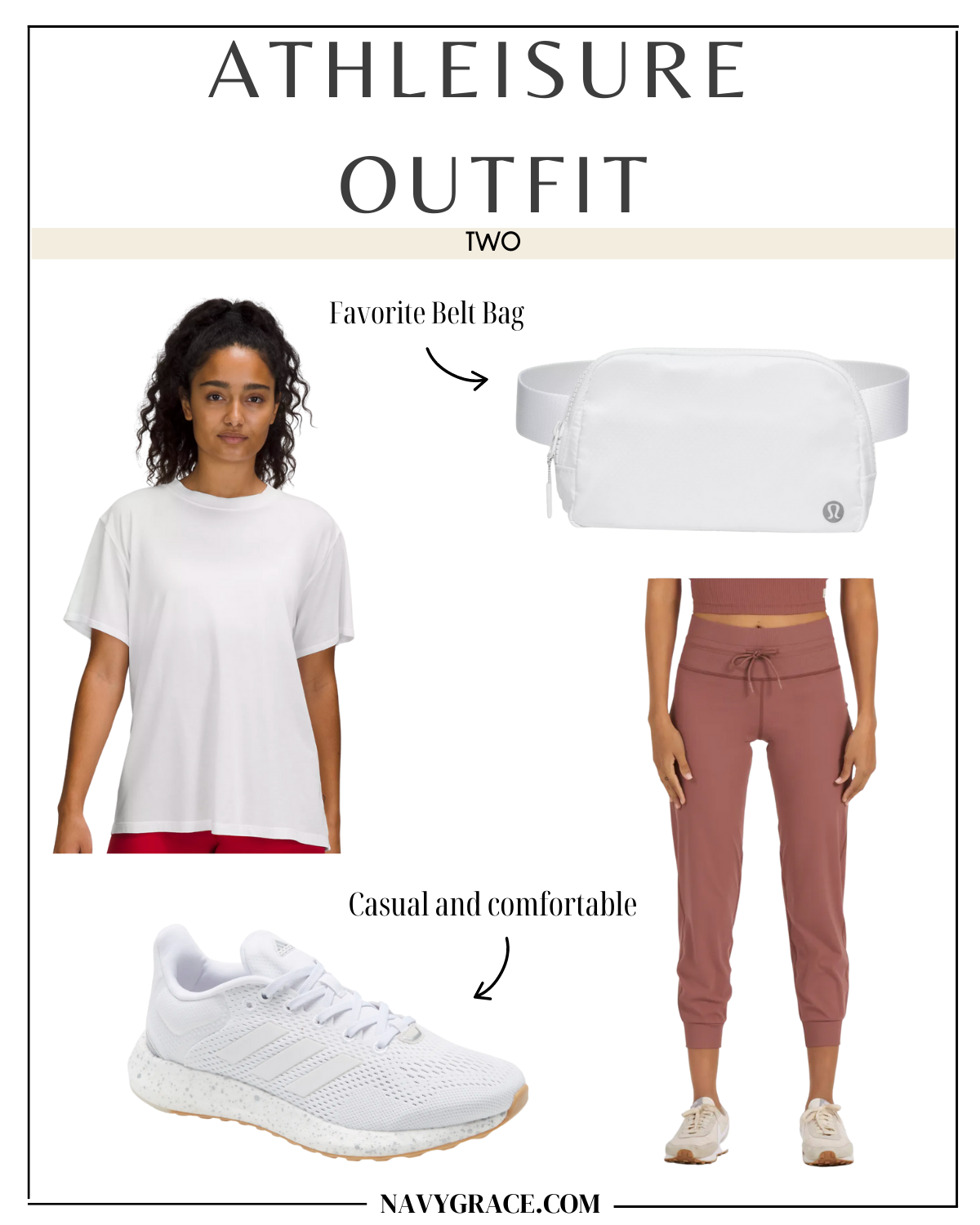 collage of clothes white and peach clothes to show how to wear athleisure