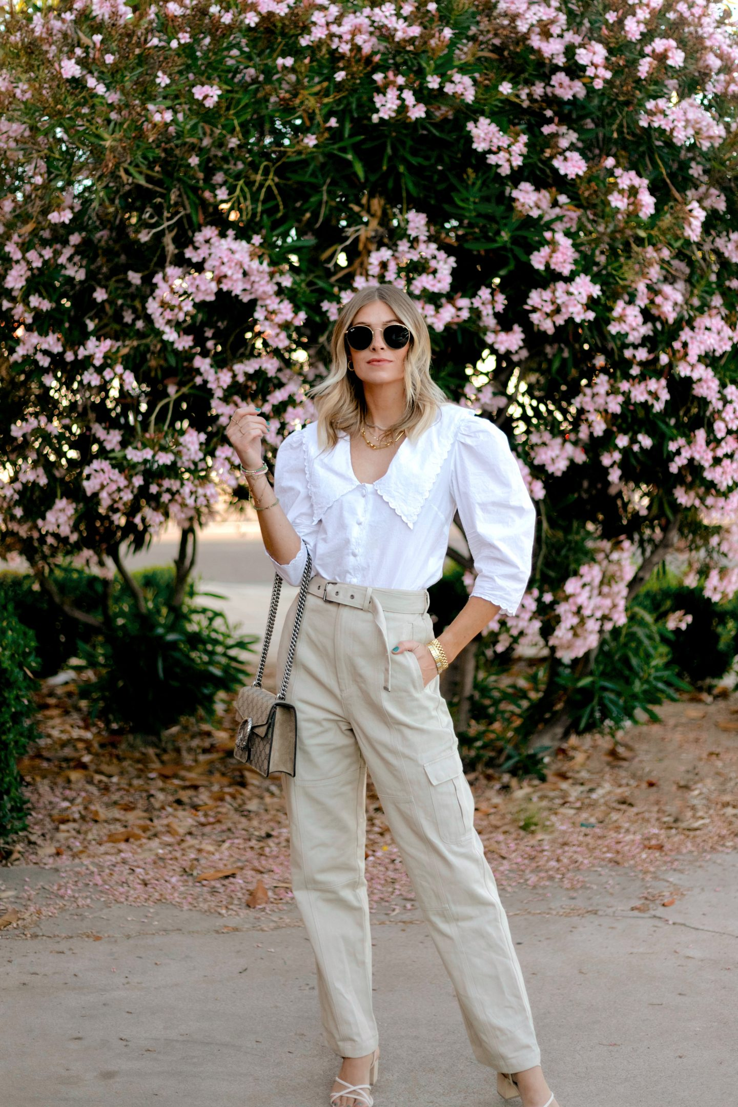 woman wearing pants and white top for summer