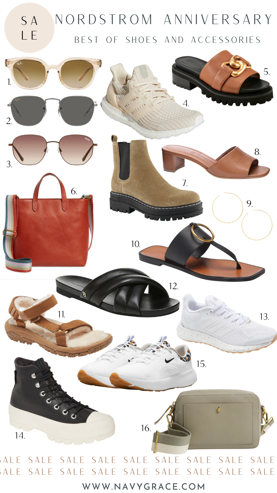 collage of shoes and accessories from Nordstrom Anniversary Sale 2021