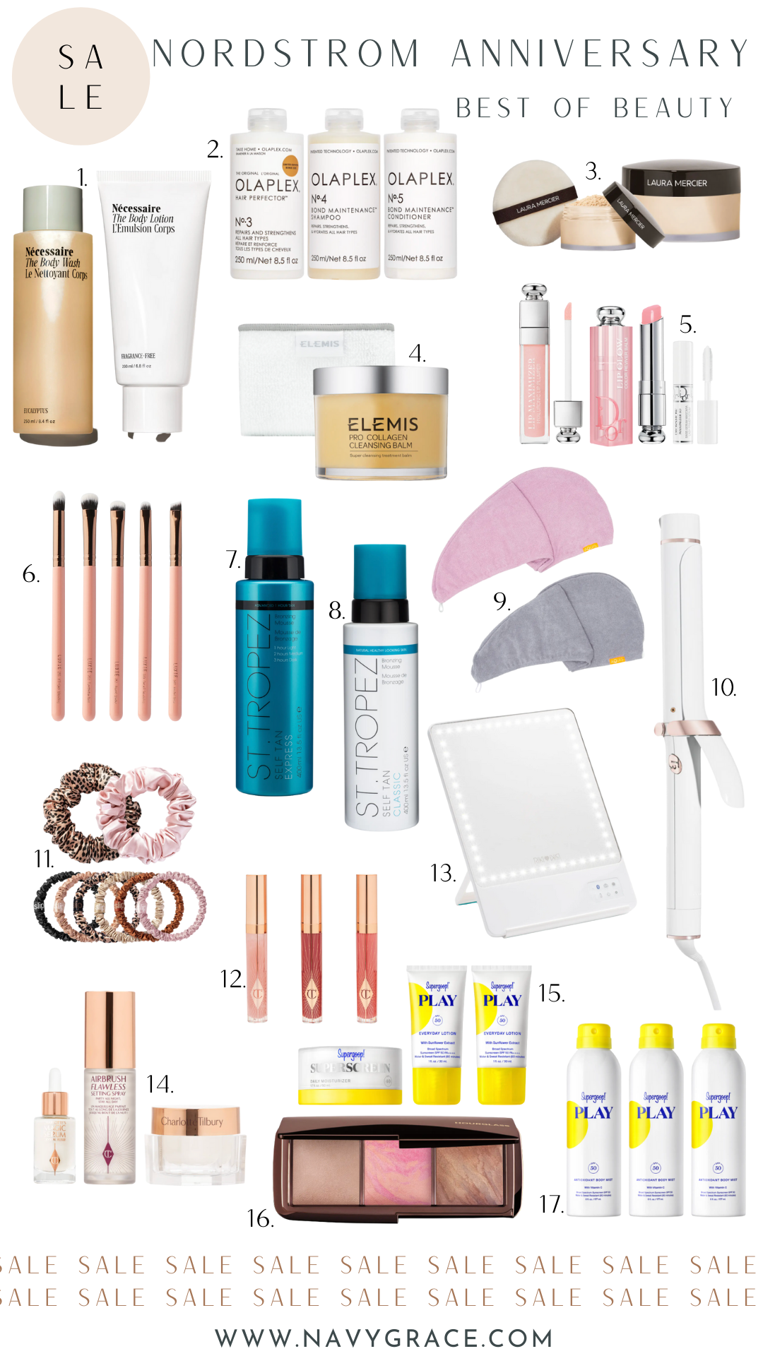 collage of beauty products from Nordstrom Anniversary Sale 2021