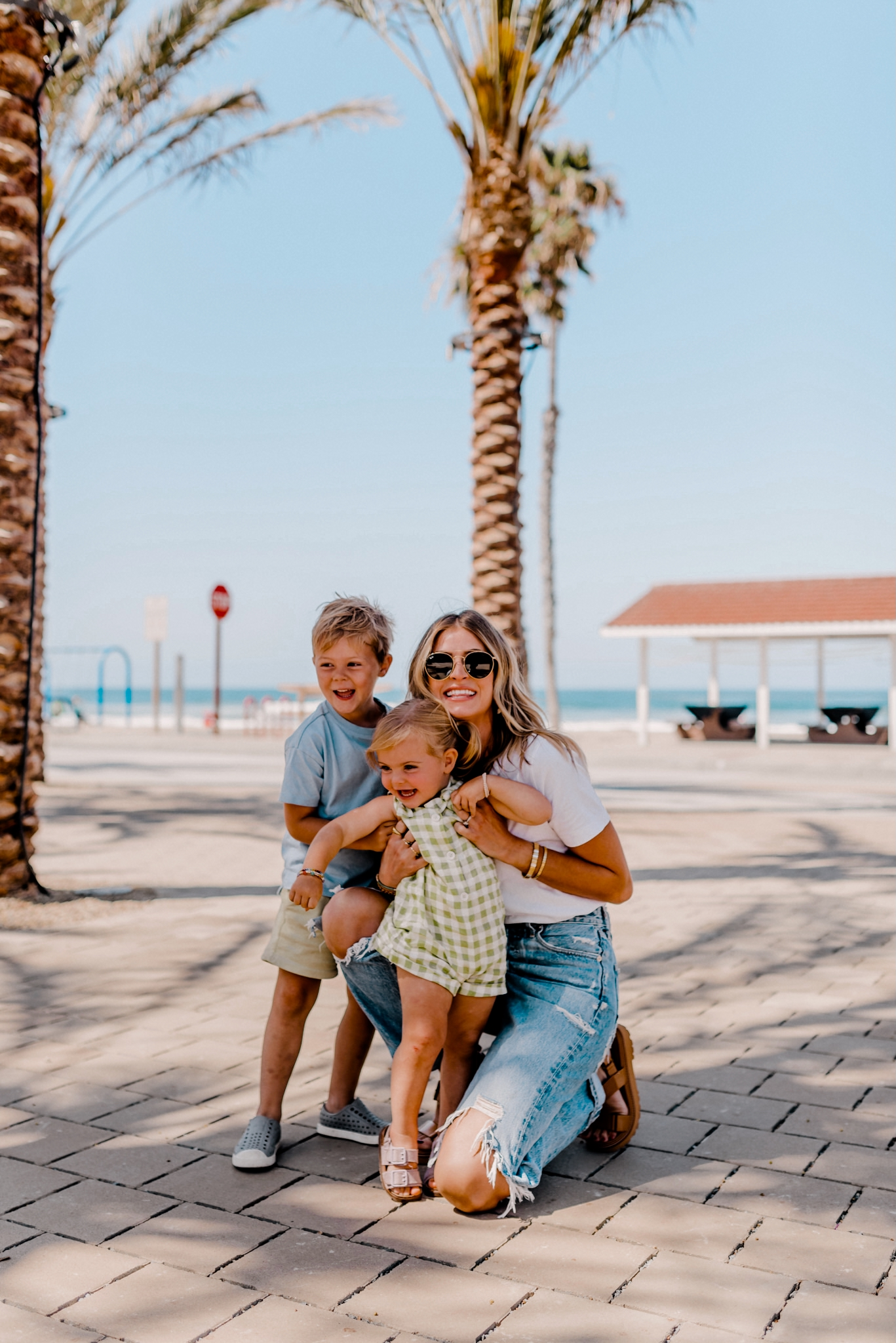 woman enjoying a day out with her kids