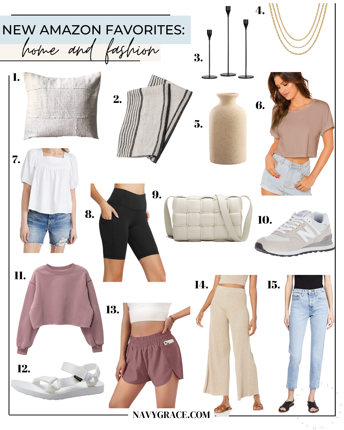 a collage of Amazon home and fashion favorites