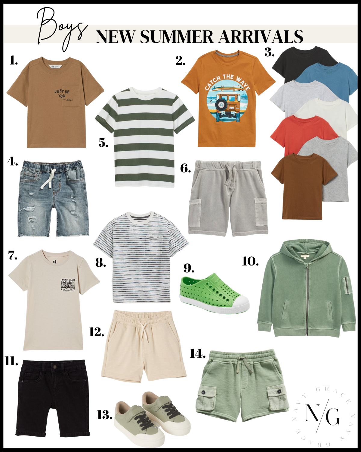 collage of kids new summer arrivals clothes
