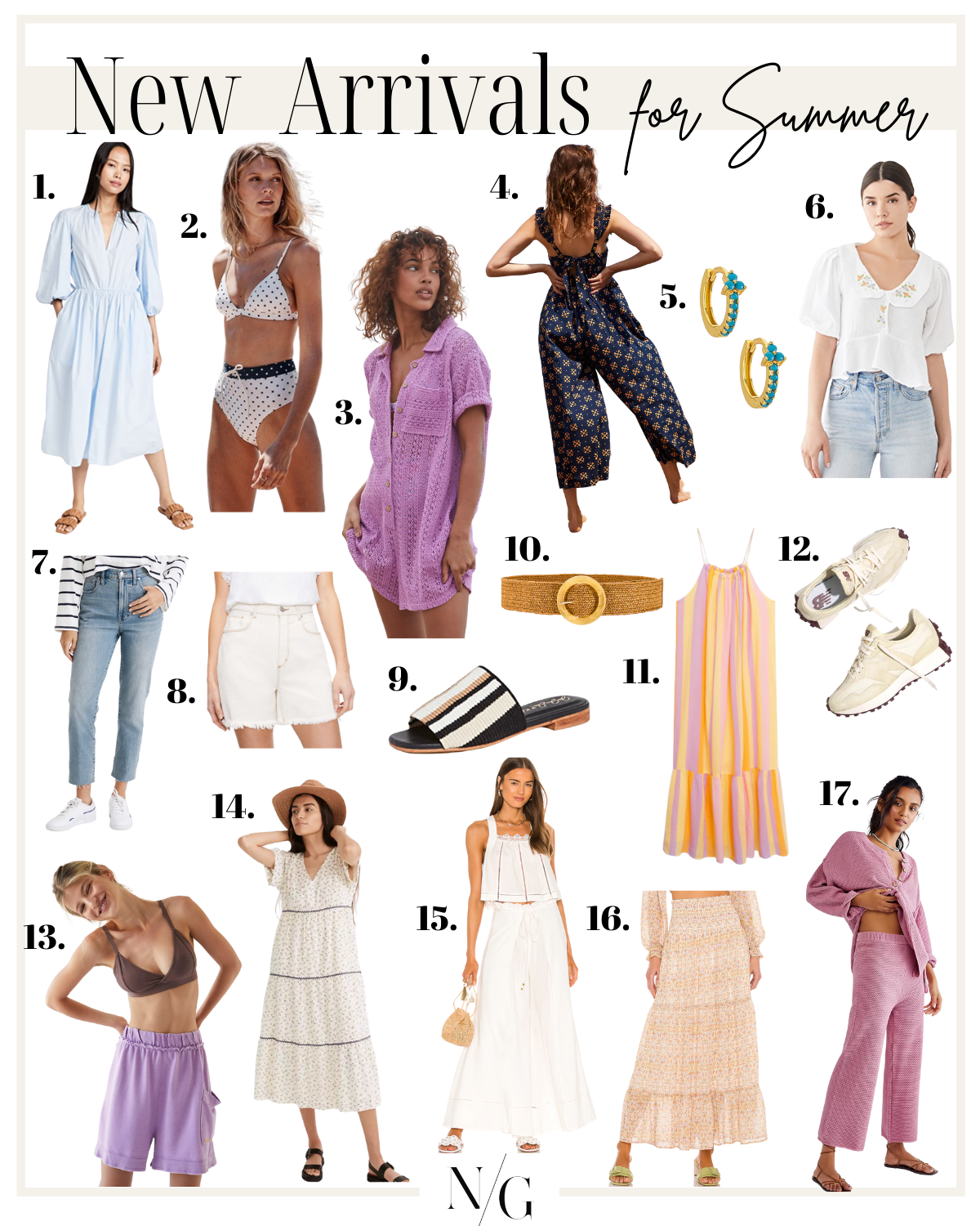 collage of New arrivals for Summer