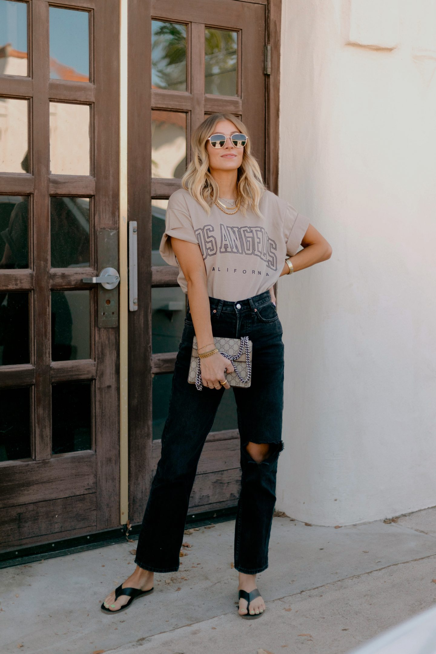 woman wearing tshirt and jeans from amazon home and fashion august