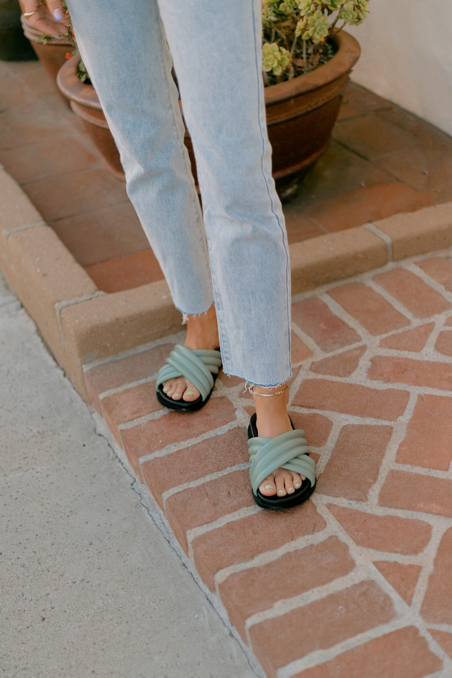 closeup of woman wearing slippers