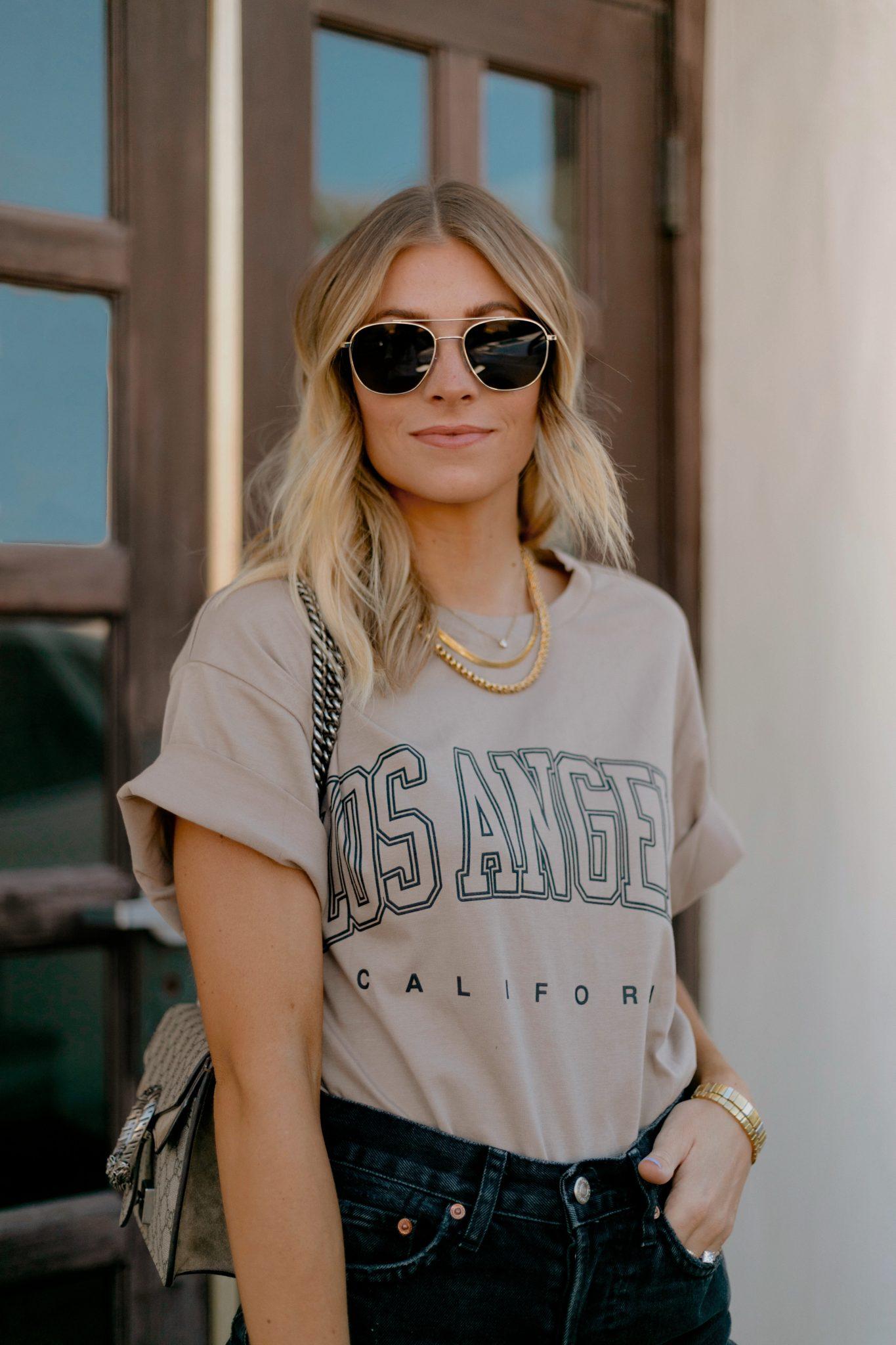 woman wearing printed shirt