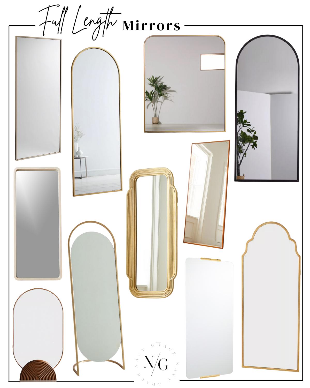 collage of trending full length mirrors