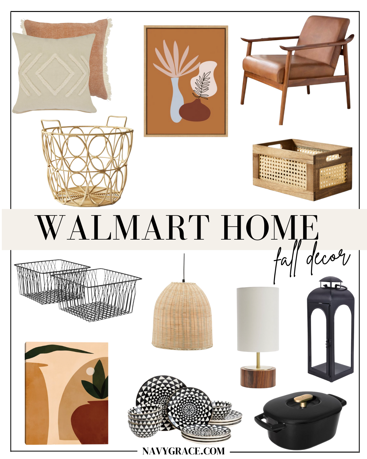 collage of Fall Home Decor with Walmart